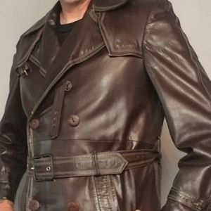Vintage Cortefiel brown leather trench coat, sz 38